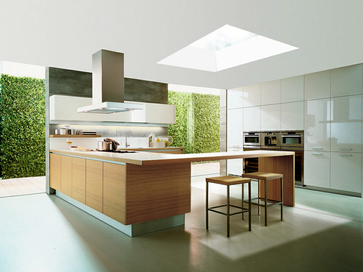 Large 2 x 1 fixed rooflights in large kitchen with framless glass panels and…