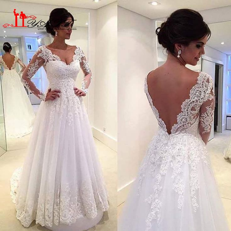 Vestidos De Novia 2016 Sexy Backless Lace Wedding Dresses A-line Long Sleeve Sweetheart Court Train Bride Wedding Gowns