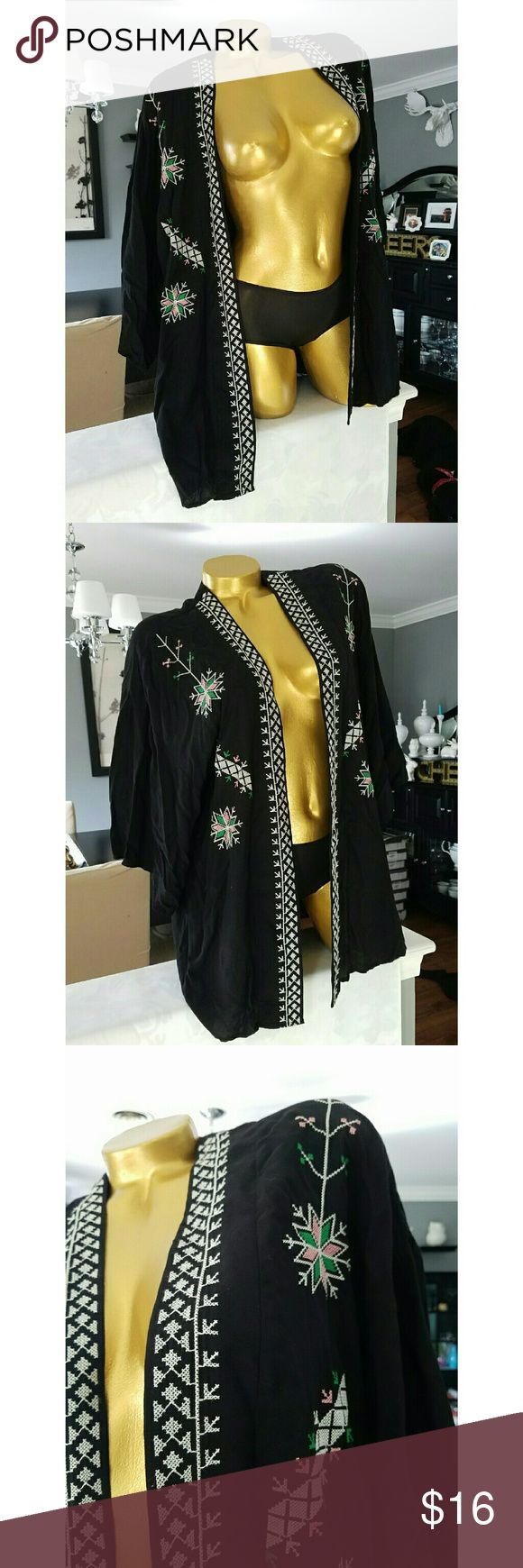 Hippy festival chic embroidered throw shrug Loose fitting shrug Lightly worn 28 inches long Rayon Forever 21 Tops