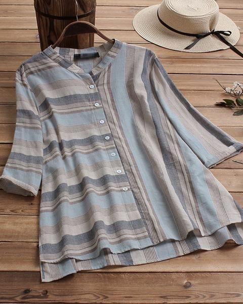 Retro Loose Large Size Striped Button Shirt 1