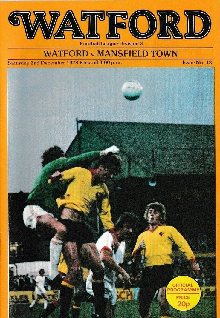 Watford 1 Mansfield Town 1 in Dec 1978 at Vicarage Road. The programme cover #Div3
