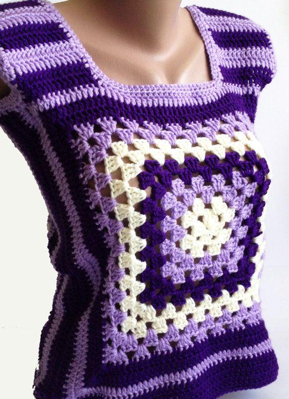 Granny Square Womens Crochet Vest/ Handmade by ElenaVorobey