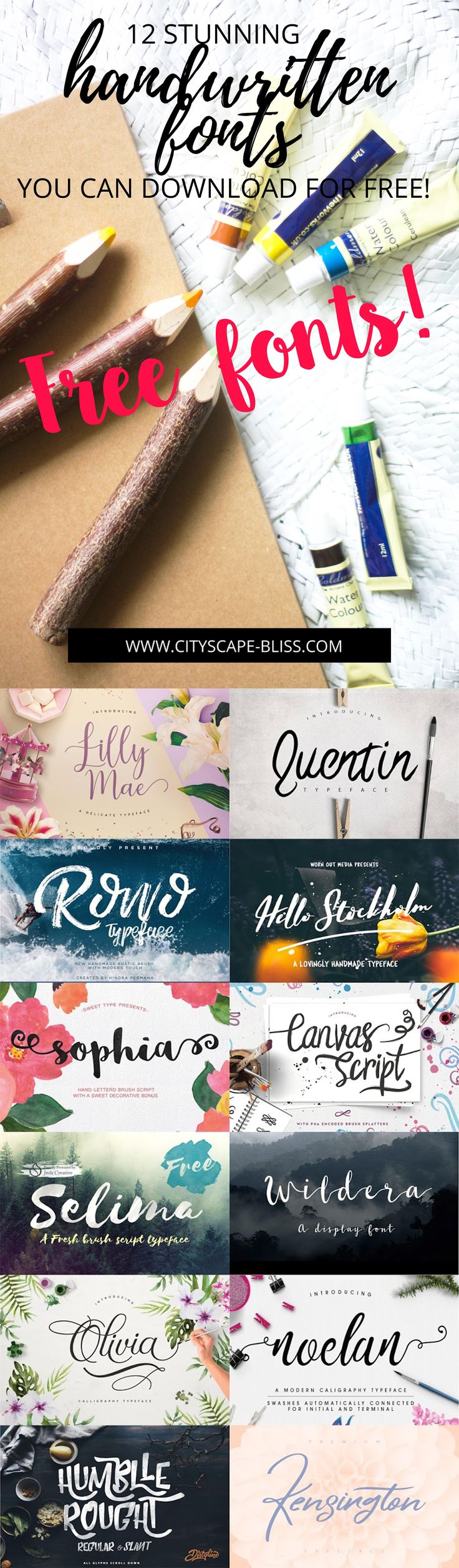 12 stunning handwritten fonts you can download FOR FREE Cityscape Bliss // Blog cheat sheet