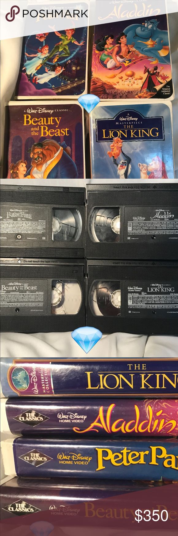 "Disney VHS BLack Diamond set of 4 Includes ""Beauty and the Beast"", ""Aladdin"", and ""Peter Pan"". ""The Lion King"" is not black diamond, but rather Disney Masterpiece. Other"