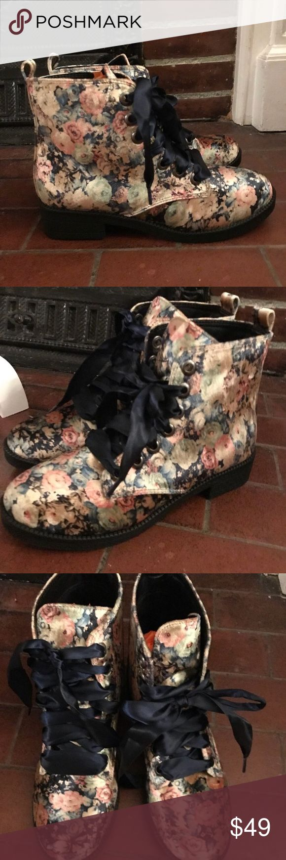 Velvet Floral Booties with Navy Ribbon Laces Sz 7 Vintage inspired floral velvet booties with navy ribbon shoe laces. These are incredibly feminine and perfect for cold weather! These are straight out of a storybook!! Modcloth Shoes