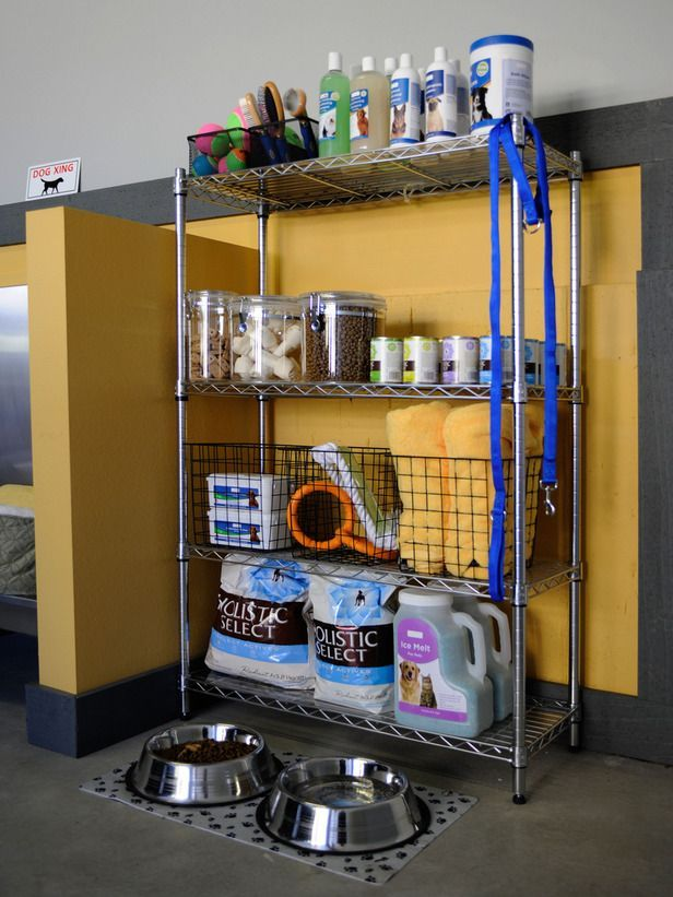 "Decluttering the Garage on HGTV - Consolidate Items such as with this convenient ""pet station""."