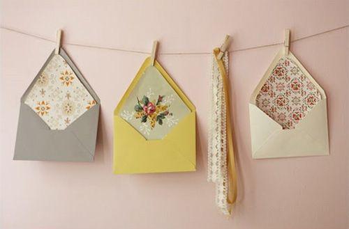 pretty envelopes: LOVE this display idea!: Vintage Wallpapers, Craft, Idea, Inspiration, Envelopes, Wallpaper Envelope, Wedding, Envelope Liners, Diy