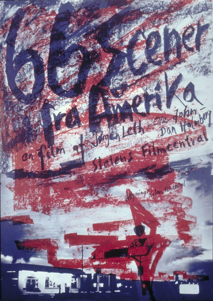 66 scener fra Amerika (Jørgen Leth, DK, 1982). Poster art: Per Kirkeby.  In Jørgen Leth's own words: »A documentary about the USA today. www.dfi.dk/faktaomfilm/film/en/6030.aspx?id=6030
