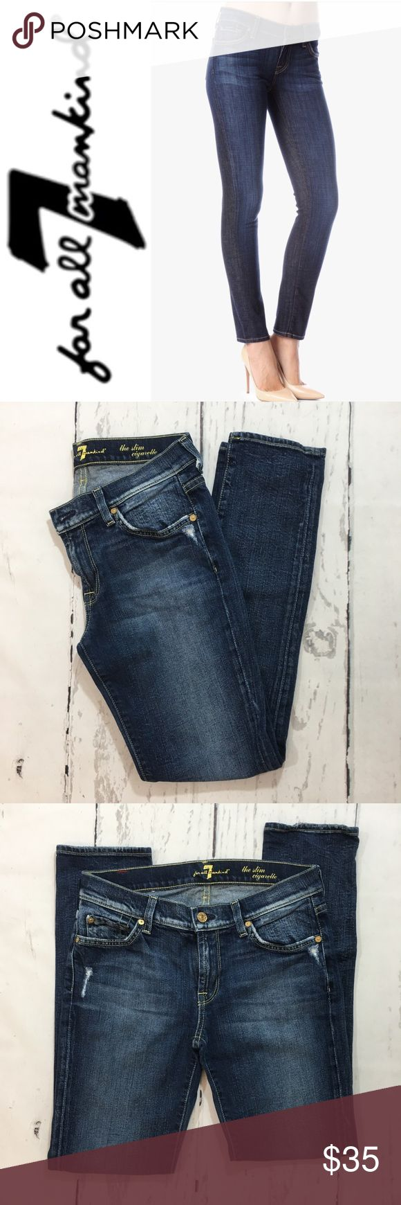 """7 For All Mankind The Slim Cigarette Jeans ✔️98% Cotton•2% Spandex ✔️Inseam: 29"""" ✔️No Holes, Stains or Damages 7 For All Mankind Jeans"""