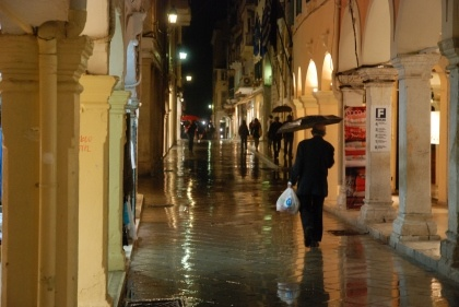 A rainy night in Corfu town. Book your Corfu holidays at corfu2travel.com