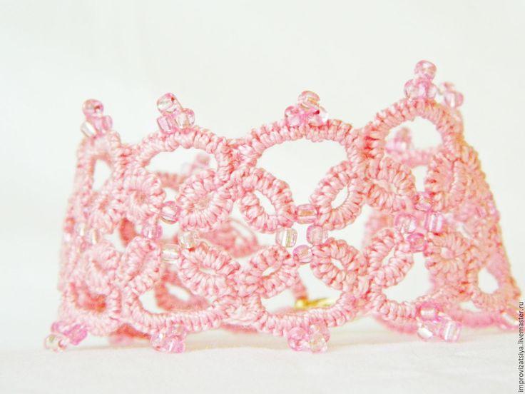 """Купить Кружевной браслет фриволите """"Нежность розы """" - розовый, браслет, нежность розы"""