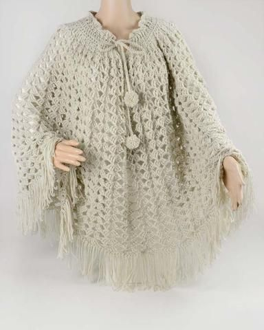 vintage crochet lacy shells poncho