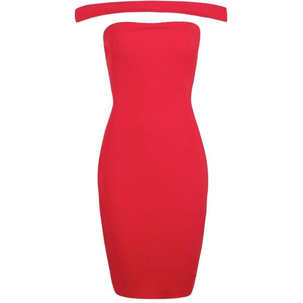 Boohoo Petite Leanne Off The Shoulder Bandage Dress ($18) ❤ liked on Polyvore featuring dresses, petite dresses, bandage dress, off the shoulder cocktail dress, petite cocktail dress and red off the shoulder dress