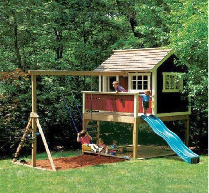 minimalist luxury outdoor playhouse with slide