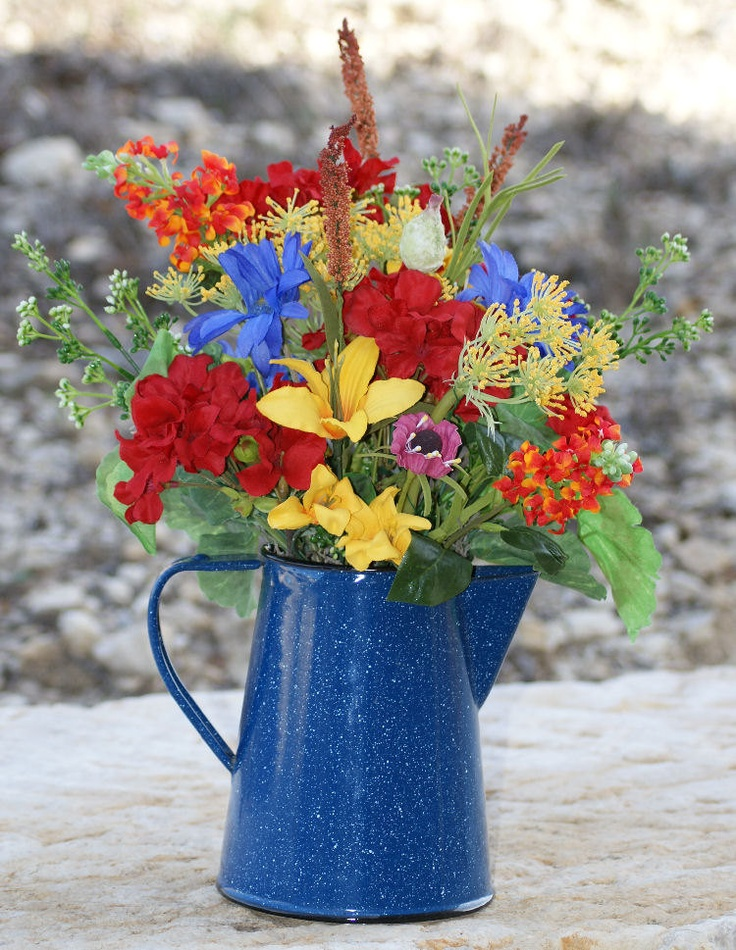 silk floral  summer  home decor  coffee pot  graniteware