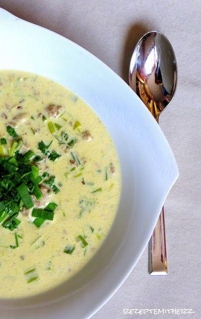 Rezepte mit Herz ♥: Käse-Lauch-Suppe mit Hackfleisch