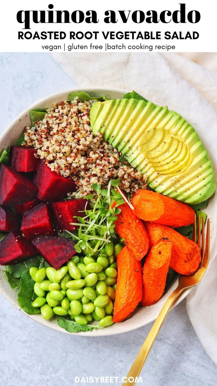 Quinoa Avocado And Roasted Root Vegetable Salad Vegan Gluten Free Daisybeet Recipe In 2020 Root Vegetable Salad Roasted Root Vegetable Salad Roasted Root Vegetables