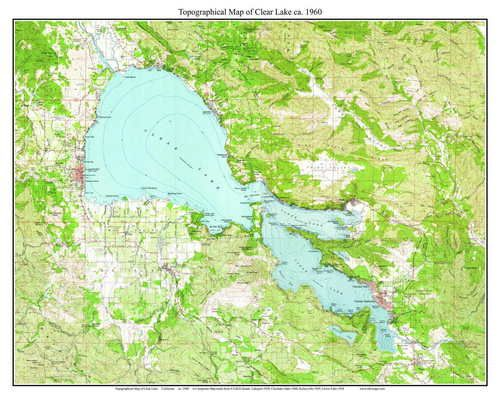 Clear Lake 1960 - Custom USGS Old Topo Map - California | California ...