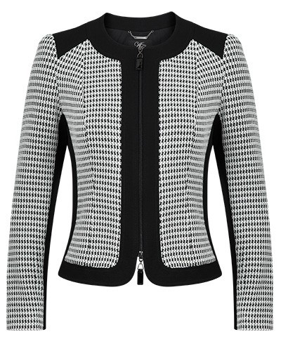 Houndstooth Contrast Stretch Jacquard jacket