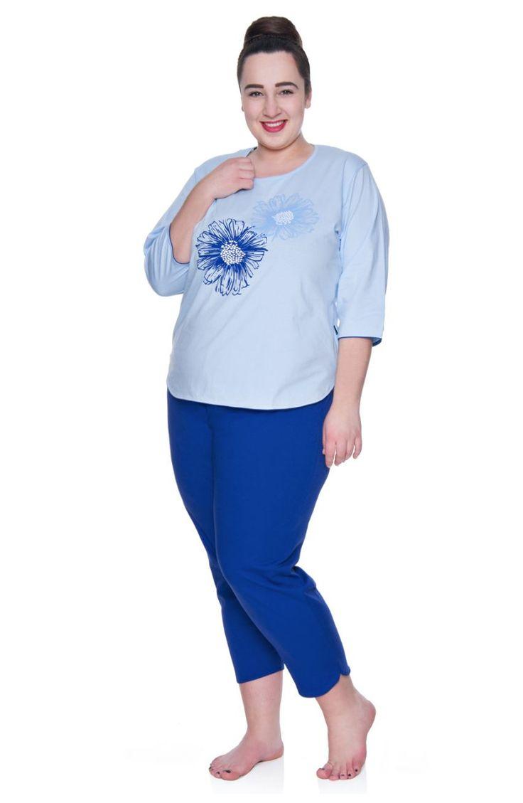 Kobaltowa piżama w kwiaty - Modne Duże Rozmiary