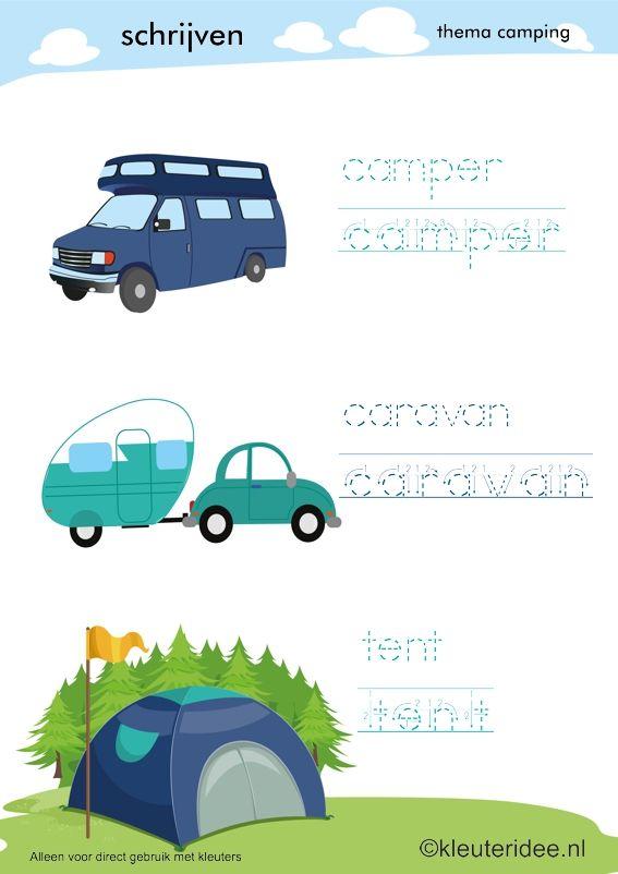 Schrijven voor kleuters, thema camping, kleuteridee, preschool camping theme.