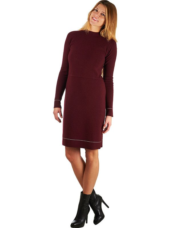 Woman dress red merino wool cashmere Mariani Made in Italy