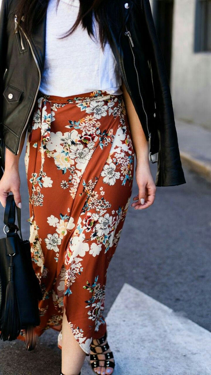 Biker jacket, white t-shirt and floral prints for spring style. #biker #leatherjacket #maxiskirt #floralprints #fabfashionfix