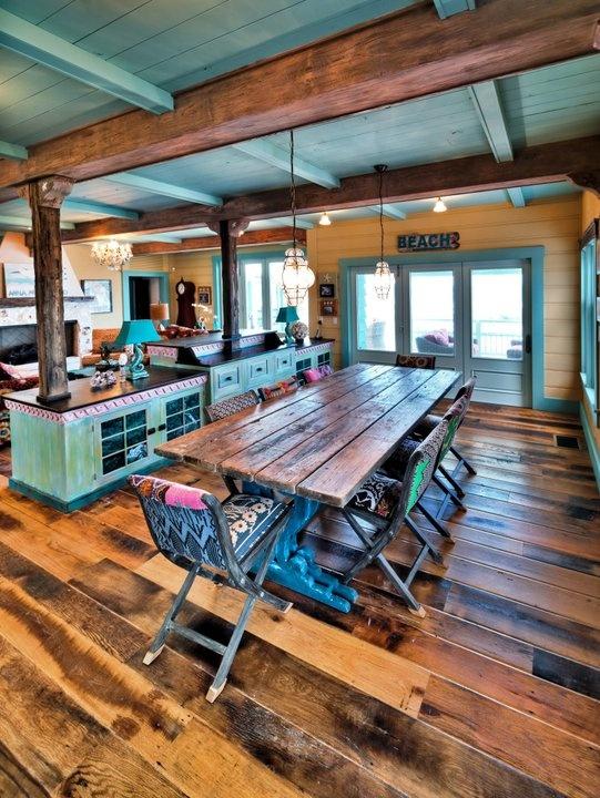 Antique barnboard Oak flooring in a beachfront home in Florida