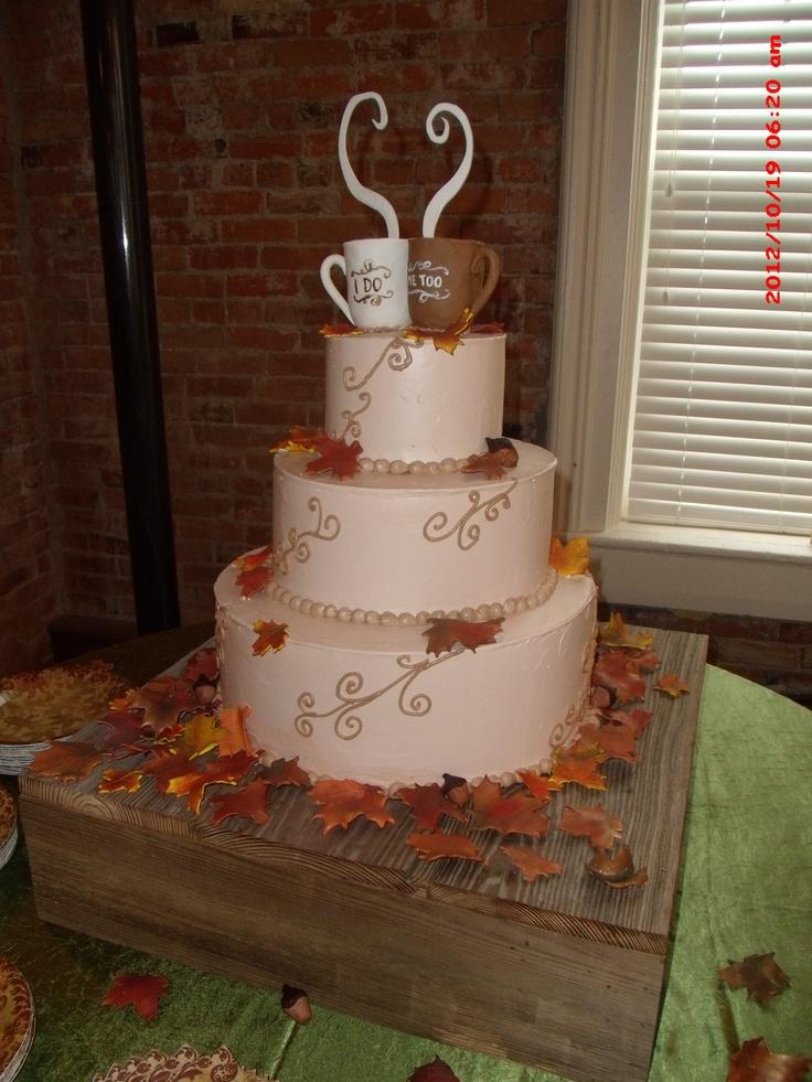 Fall Themed Wedding Cake Gumpaste Leaves And I Do Me