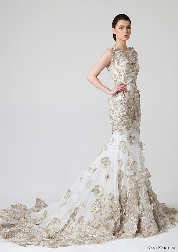 Rani Zakhem #bridal Spring/Summer 2014 : fit and flare #wedding dress with gold edged flower accents