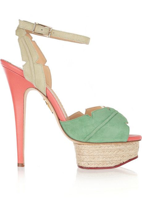 Charlotte Olympia Isla palm leaf suede and leather sandals - My Color Fashion