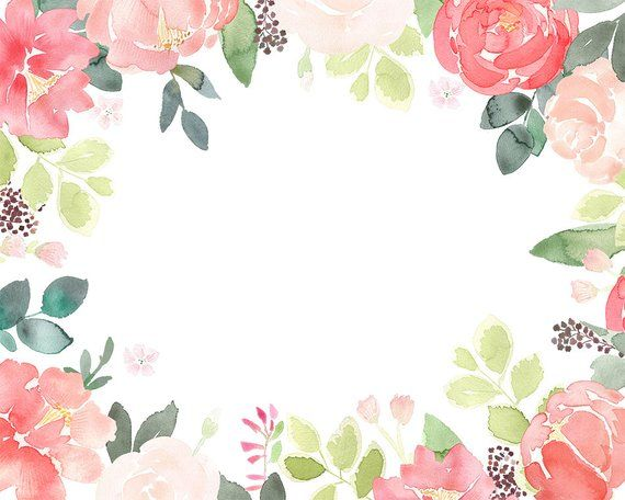 Peony Clipart Floral Frames Coral Peonies Clip Art Watercolor