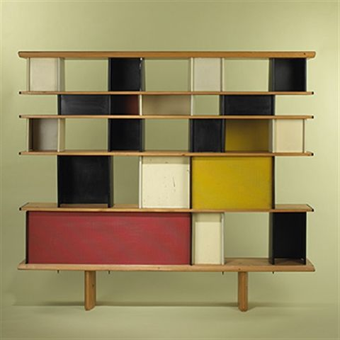 Charlotte Perriand, Jean Prouvé and Sonia Delaunay Bibliotheque. Like a 3D Mondrian painting.