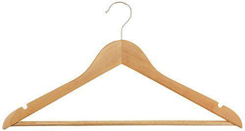 AmazonBasics Wood Suit Hangers - 16 Pack, Natural AmazonB