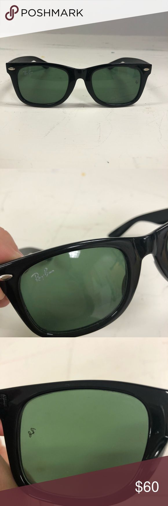 Ray Ban Wayfarer Unisex Ray Ban unisex Wayfarer sunglasses. Solid black, with black tinted lenses. Barely worn. Does not come with a case. Ray-Ban Accessories Sunglasses