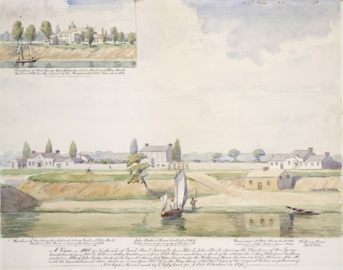 A View in 1810 of North Side of Front Street, Toronto, from Peter to John Streets