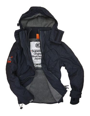 Superdry Mens Quilted Polar Hooded Windcheater - French Navy/Grey Marl