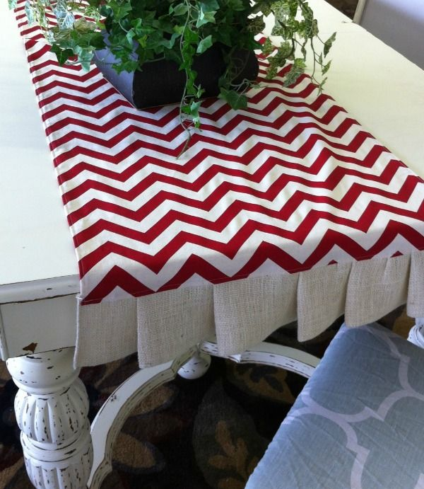 CUTE table runner.  This inspired me to make a similar table runner.  But I added lace to mine.
