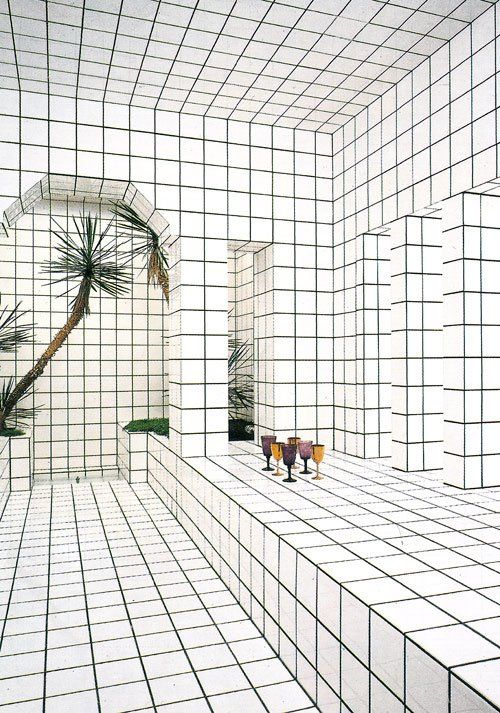 MINTY WARES | Extraordinary interior space and installation consisting entirely of white tiles and black grout, creating a grid or graph appearance. Optical illusion interior.  La Maison de La Celle-Saint-Cloud House by Jean-Pierre Raynaud | Yellowtrace