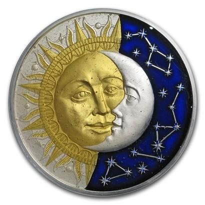 2017 Niue 2 Ounce Celestial Bodies Sun and Moon Colored & Enameled Silver Coin with Antique Finish