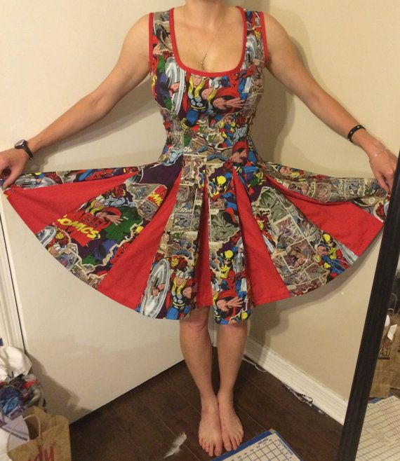 Hey, I found this really awesome Etsy listing at https://www.etsy.com/listing/194382891/marvel-comic-book-pinup-dress-7red-inset