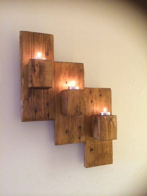 Pallet Wall Mounted Candle Holders   101 Pallet Ideas: