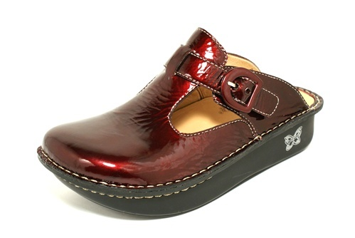 Alegria clogs -- my scrub shoes (in pewter, though, not this awesome plum)