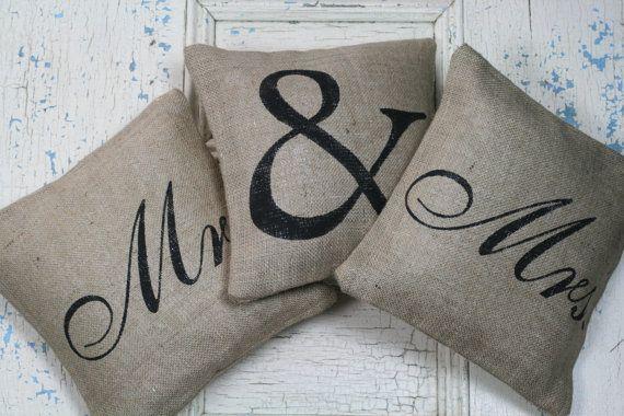 Mr. & Mrs. Pillow Set, Burlap Pillows, Rustic Decor, Decorative Pillows