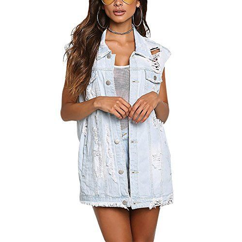 """Sexy sleeveless denim vest. It is gorgeous and fashion ,the fashion design make you more charming.       Famous Words of Inspiration...""""There are many silly superstitions about lightning, and as a result many people - maybe even you - are terrified of it. You shouldn't...  More details at https://jackets-lovers.bestselleroutlets.com/ladies-coats-jackets-vests/denim-jackets/product-review-for-dreamparis-womens-distressed-lapel-denim-outfits-sleeveless-je"""