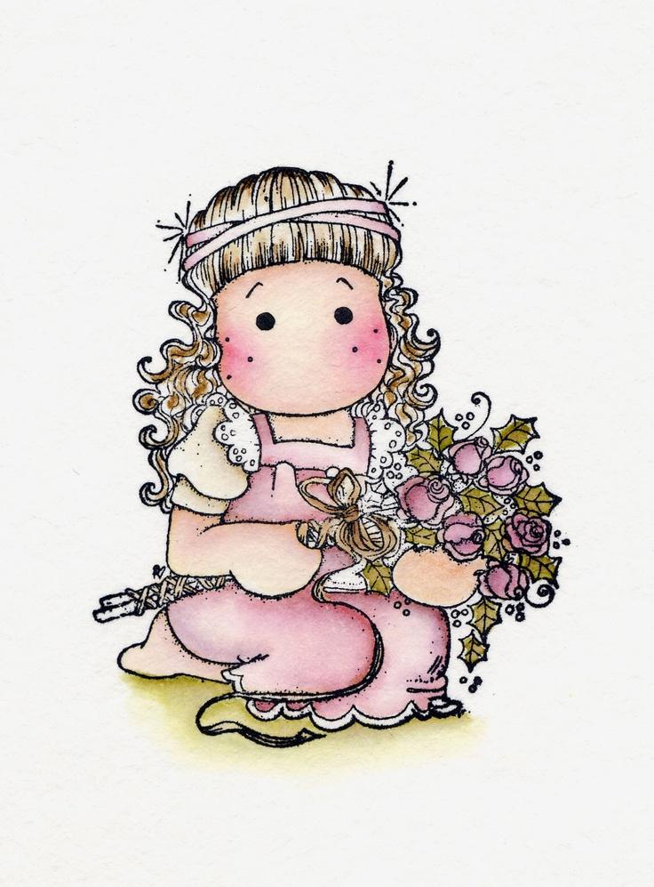 Ingekleurde Magnolia Stempel