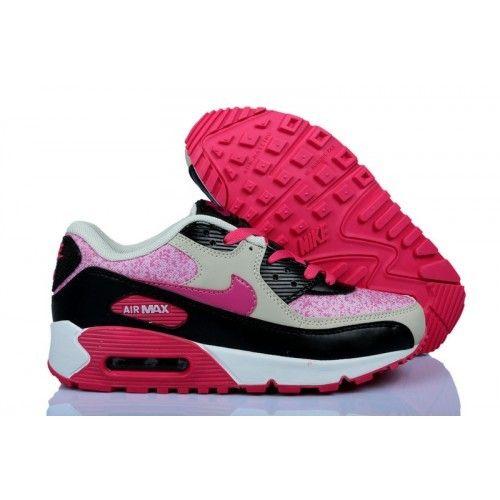 Bgum Nike Air Max 90 Premium EM Femme Baskets Rouge Noir Rose