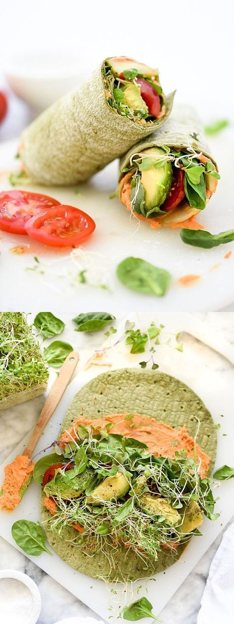 My favorite hummus for wrapping is a spicy roasted red pepper, then load it up with sprouts and veg | http://foodiecrush.com