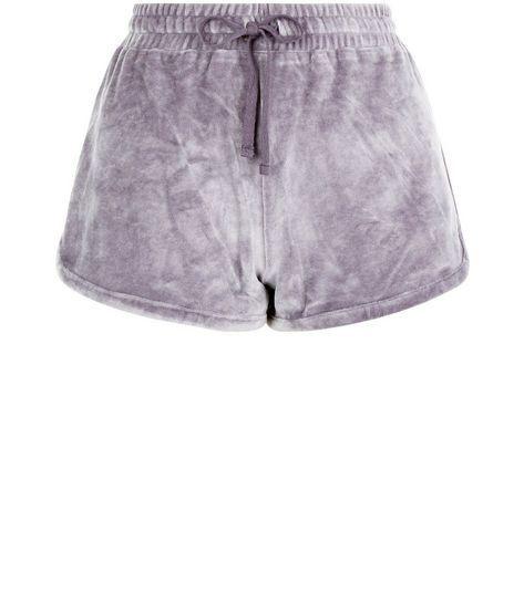 Grey Velour Shorts   New Look