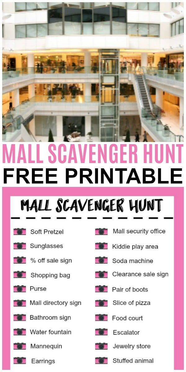 A mall scavenger hunt is a fun way to spend an afternoon. This free printable ma…